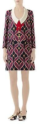Gucci Women's Flying Ribbon Print Cady Shift Dress