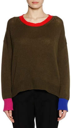 Marni Crewneck Long-Sleeve Cashmere Knit Sweater
