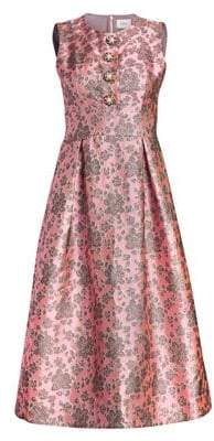 Erdem Davinia Metallic Floral Fit-And-Flare Dress