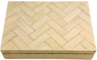 One Kings Lane Vintage Zig Zag Tessellated Bone Decorative Box - Owl's Roost Antiques
