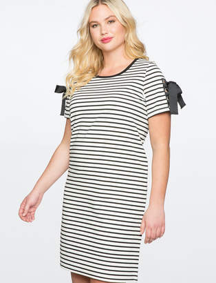 Plus Size Black And White Striped Dress - ShopStyle