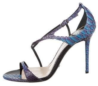 Christian Dior Snakeskin Ankle Strap Sandals