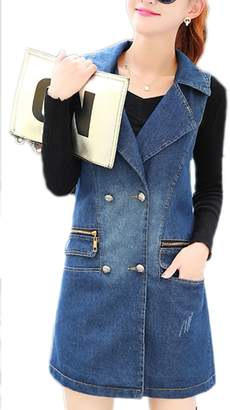 Zilcremo Women Casual Sleeveless Double Breasted Midi Loose Denim Jacket Vest Outcoat Outwear XL