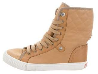 Tory Burch Leather High-Top Sneakers
