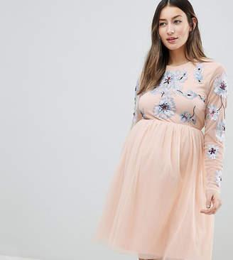 Asos DESIGN Maternity pastel embroidered tulle mini dress