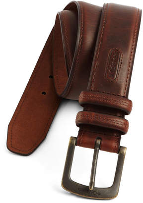 Columbia Brown Leather Men's Belt with Contrast Stitching-Big & Tall