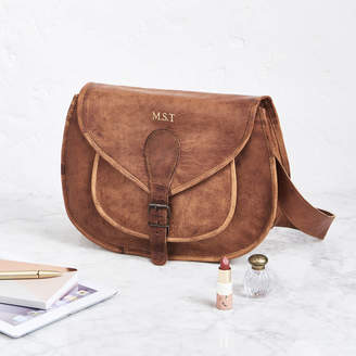 At Notonthehighstreet Vida Vintage Leather Saddle Bag Large