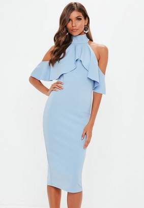Missguided Blue High Neck Frill Cold Shoulder Midi Dress
