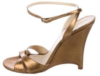Burberry Metallic Leather Wedges