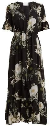 Athena Procopiou - In The Still Of The Night Floral Print Silk Dress - Womens - Black Print