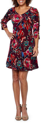 MSK 3/4 Sleeve Floral Fit & Flare Dress