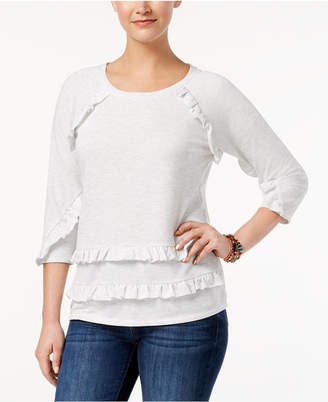 Style&Co. Style & Co Ruffled Raglan Top, Created for Macy's