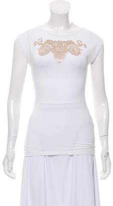 Versace Sleeveless Bead-Accented Top