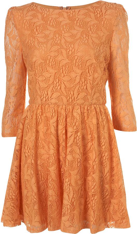 Orange Lace Flippy Dress