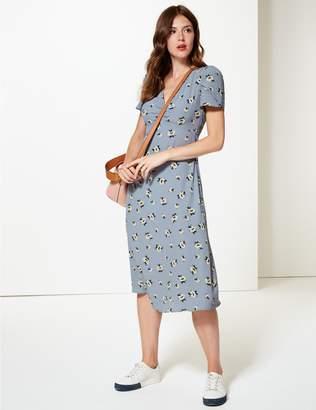 Marks and Spencer Floral Print Short Sleeve Tea Midi Dress