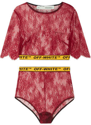 Off-White Cropped Canvas Jacquard-trimmed Lace Top And Briefs Set - Brick