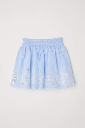H&M Skirt with Eyelet Embroidery - Blue