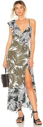 1 STATE Ruffled Shoulder High Low Dress