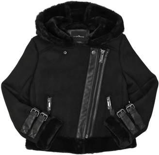 John Richmond Hooded Faux Shearling Biker Jacket