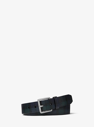 Michael Kors Tartan Pebbled Leather Belt