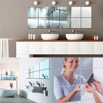 Self Adhesive Mirror Tile, Estink 9pcs Decorative Square Acrylic Tiles Mirror Wall Stickers for Wall Decor Home Living Room