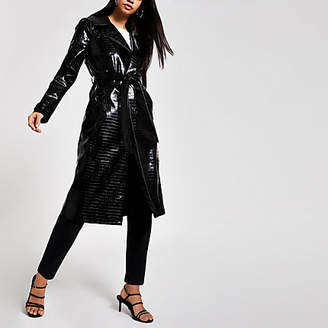 River Island Black vinyl croc embossed trench coat
