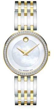 Movado Esperanza White Mother-Of-Pearl Stainless Steel Watch
