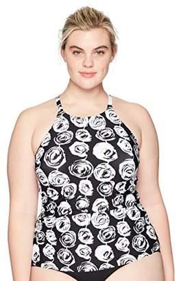 Anne Cole Women's Plus Size High Neck Tankini Swim Top