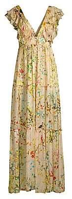 HEMANT AND NANDITA Women's Flutter Sleeve Floral Maxi Dress