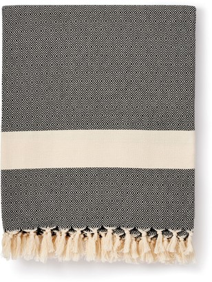 Luks Linen Damla - Traditionally Loomed Cotton Blanket - Black & Salt