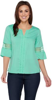 C. Wonder Flutter Sleeve Blouse with Lace Detail
