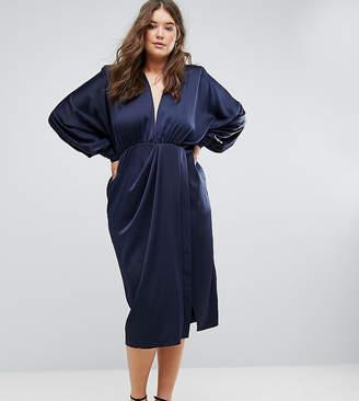 Asos Shoulder Pad Long Sleeve Selenia Midi Dress