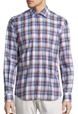 Saks Fifth Avenue COLLECTION Madras Plaid Shirt