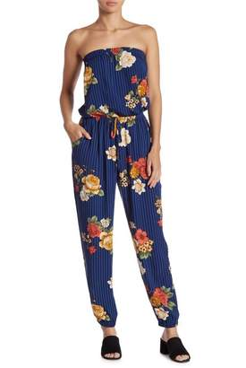 Gilli Strapless Striped Floral Jumpsuit