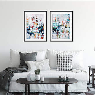 Abstract House Modern Abstract Art Blue Framed Art Prints Set Of Two