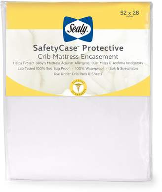 """Sealy SafetyCase Protective Zippered Crib Mattress Encasement -Lab Tested 100% Bed Bug Proof, Waterproof, Hypoallergenic, Soft and Stretchable 52""""x28"""" (White)"""