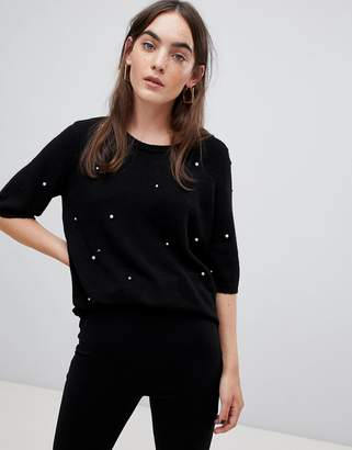 B.young Pearl Embellished Top
