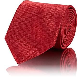 Brioni Men's Mini-Square Silk Jacquard Necktie - Red