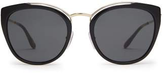 Prada Cat Eye Acetate And Metal Sunglasses - Womens - Black