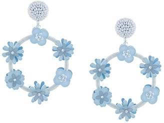 Oscar de la Renta flower double hoop earring