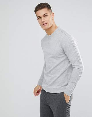 Ted Baker Sweat With Sleeve Detail In Gray