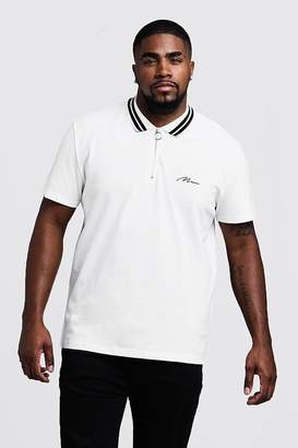 Big & Tall MAN Pique Polo With Stripe Collar