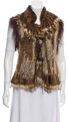 Fur Fringe-Accent Fur Vest w/ Tags