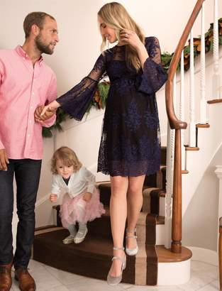 Motherhood Maternity Long Sleeve Lace Maternity Dress