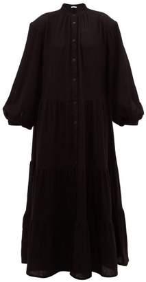 Roche Ryan Tiered Cashmere Maxi Dress - Womens - Black