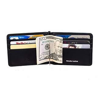Picchio Men's Classic Range RFID Blocking Compact Minimalist Bi-Fold Money Clip Front Pocket Wallet with ID Window on Top