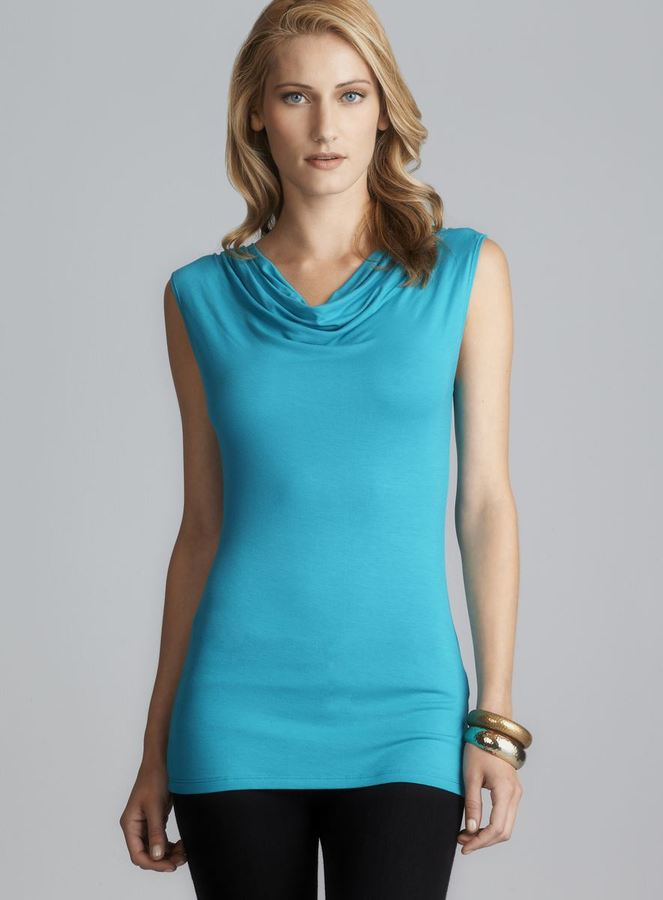 Tahari Sleeveless Ruched Shoulder Cowl Neck Top