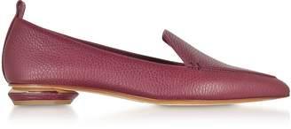 Nicholas Kirkwood Beya Burgundy Tumbled Leather Loafers