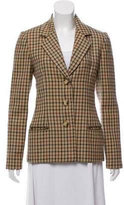 Bill Blass Checkered Button-Up Jacket Beige Checkered Button-Up Jacket