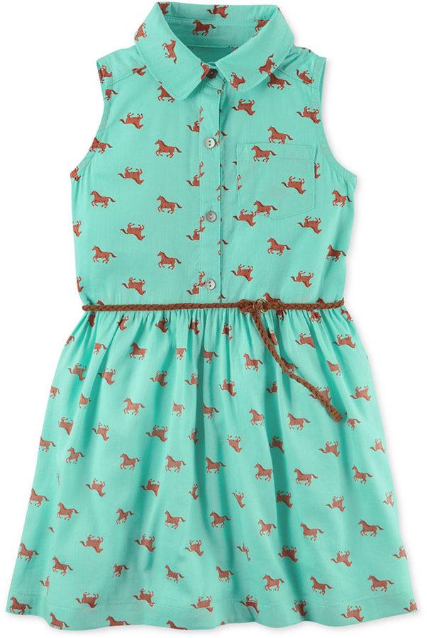 Carter's Horse-Print Belted Shirtdress, Toddler Girls (2T ...